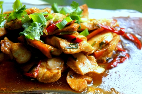 Chicken stir fry with lemongrass and chili