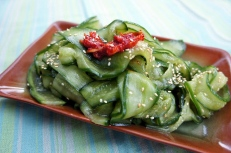 Cucumber salad with soy and sesame oil. and the memory of feast at a 'wine house'