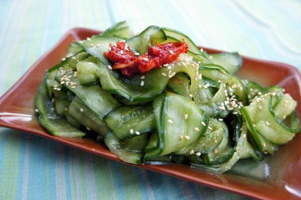 Compressed rectangle Cucumber salad