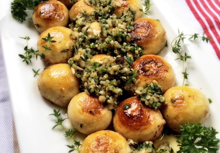 Mushrooms stuffed with parsley, gluten free
