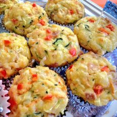 Cheesy muffins with zucchini and carrot