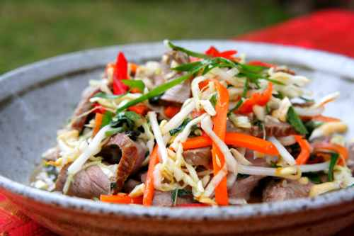 Rare beef salad with Vietnamese slaw