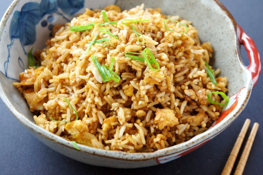 Egg fried rice with ginger, soy sauce and sesame oil