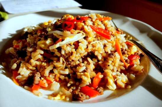 Beef fried rice spiced with cumin (Low FODMAP, gluten free)
