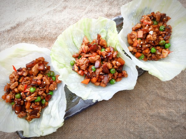 Chicken san choy bow - lettuce wrap with chicken, Chinese mushroom, bamboo shoot and oyster sauce