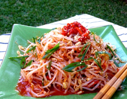 Bean sprout salad with spicy Korean radish  (gluten free, Vegan)