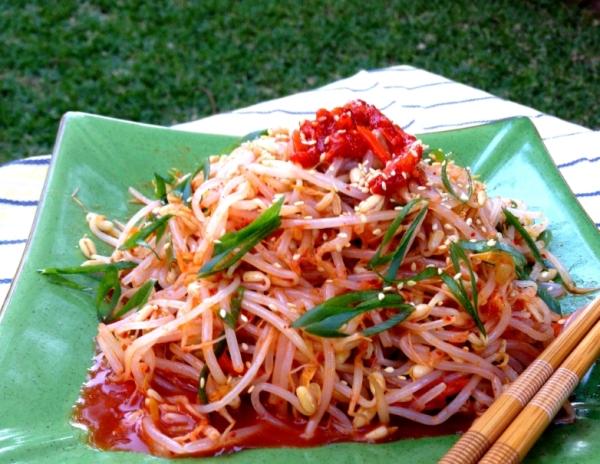 Bean sprout salad with spicy Korean radish  (gluten free, Vegan)