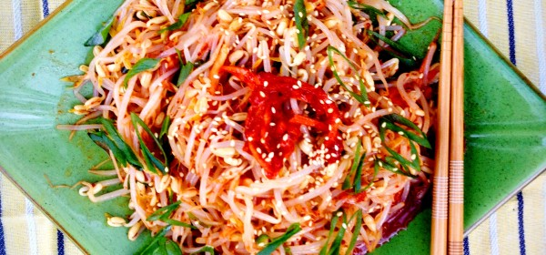 Asian bean sprout salad with homemade instant radish kimchi and sesame oil.