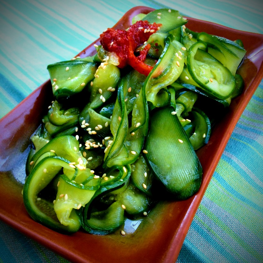 Cucumber salad with soy and sesame oil