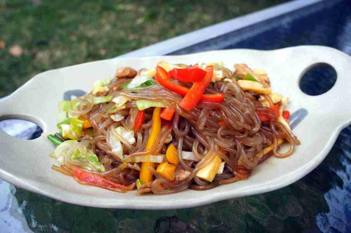 Sweet potato noodles with gochujang, vegan