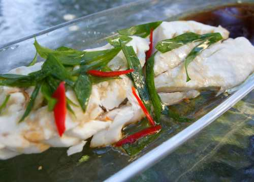 Steamed blue eye cod with shallot & soy (low FODMAP & gluten free)