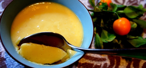 Mango pudding with coconut kumquat (gluten free)