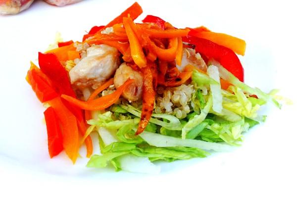 Rice paper roll filling - quinoa, pumpkin, capsicum, carrot and lettuce.