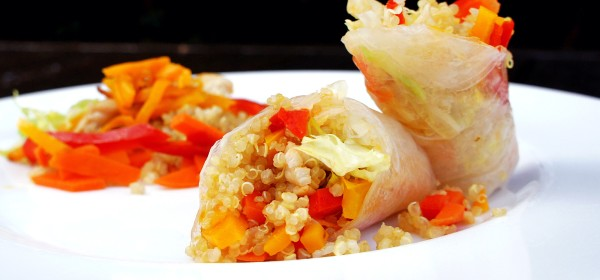 Rice paper roll of quinoa, pumpkin, capsicum, carrot and lettuce
