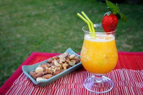 Peach and coconut margarita
