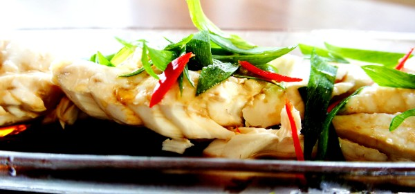 Chinese steamed fish (blue eye cod) with shallot, ginger and soy sauce
