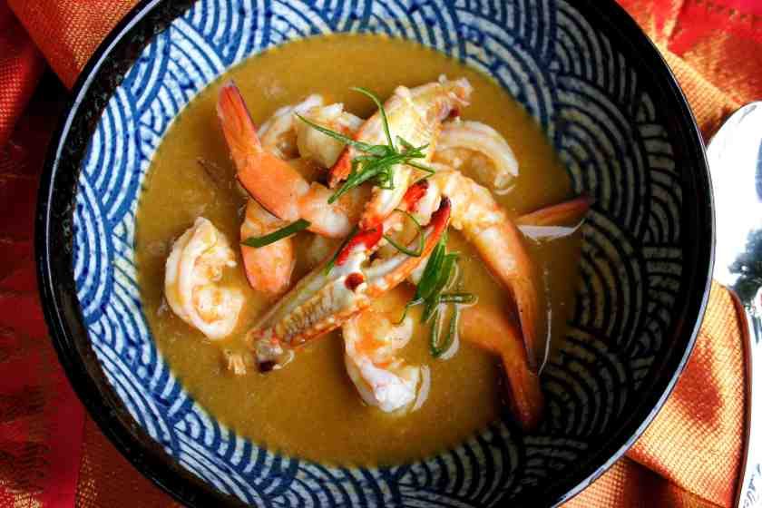 Asian inspired seafood bisque