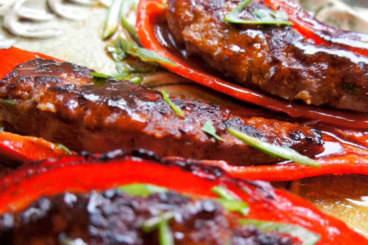 Banana chilies stuffed with lamb, topped with an Asian sauce of oyster, soy and sesame oil, FODMAP friendly, gluten free