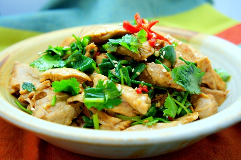 White cooked chicken with a tangy soy and vinegar sauce (FODMAP friendly)