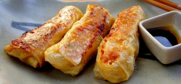 Tofu skin rolls with chicken, bamboo shoots and Chinese mushrooms 鮮竹卷 (gluten free)