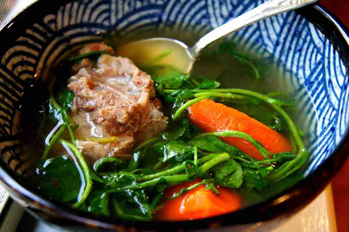 Traditional Chinese watercress broth with carrots, fodmap friiendly, gluten free