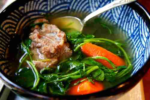Traditional Chinese watercress broth with carrots, low fodmap, gluten free