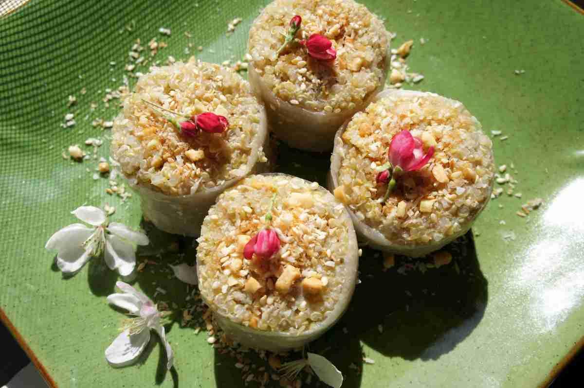 Quinoa banana rolls with a peanut sesame filling, low FODMAP, gluten free, vegan