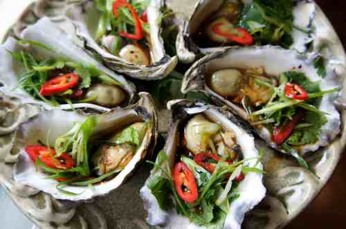 Steamed oysters with shallot, corriander, chili, soy sauce, sesame oil