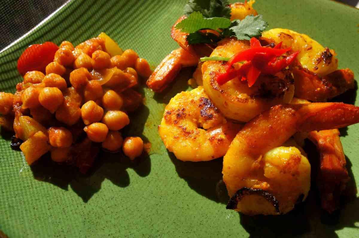 Turmeric prawns with garam masala and cumin, gluten free