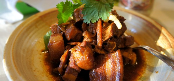 Braised pork belly with spicy bamboo shoots