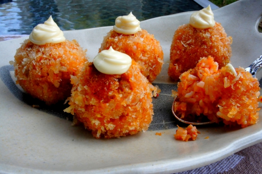 Deep fried rice balls with kimchi, spicy pork and panko crumbs
