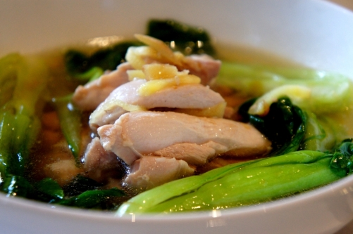 Chicken soup with ginger bok choy (FODMAP friendly, gluten free)