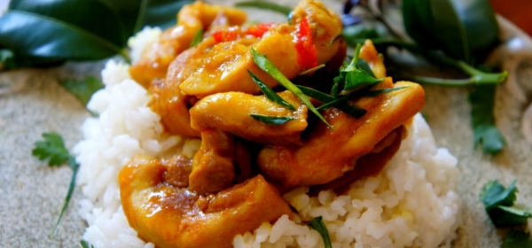 Steamed turmeric chicken, with coconut milk, lemongrass and ginger rice (low FODMAP, gluten free)