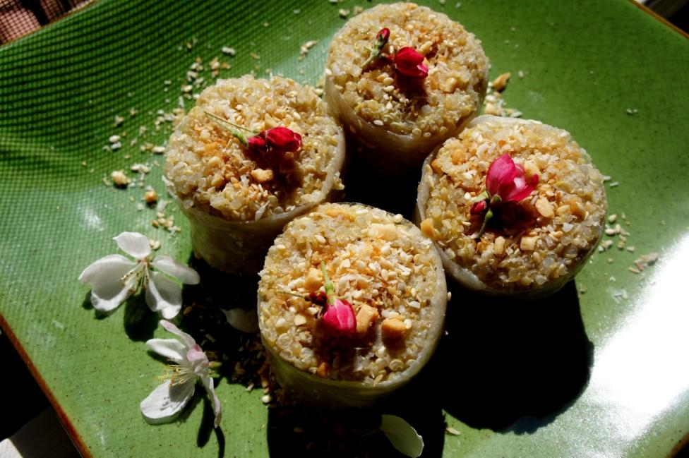 Quinoa and banana rolls with a peanut sesame filling (low FODMAP, gluten free, vegan)