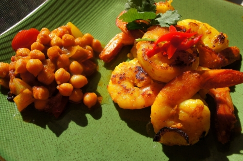 Golden turmeric prawns