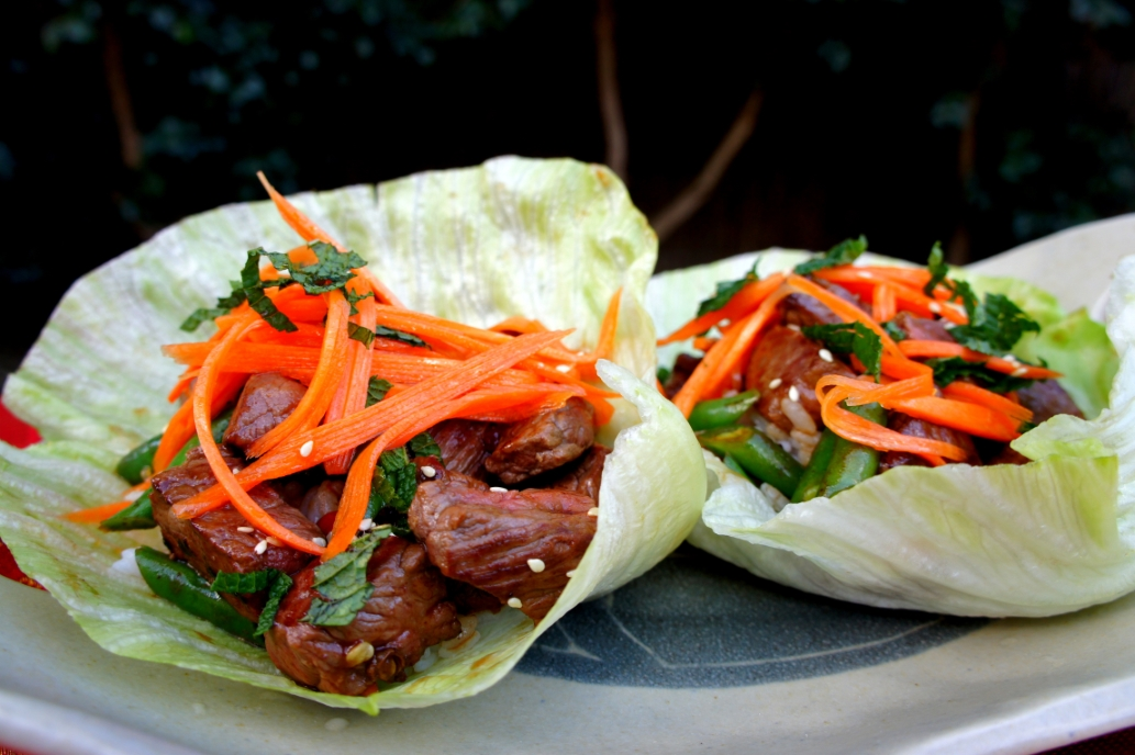 Crunchy lettuce wrap of pepper beef and pickled carrot, with Vietnamese style dipping sauce  (low FODMAP, gluten free)