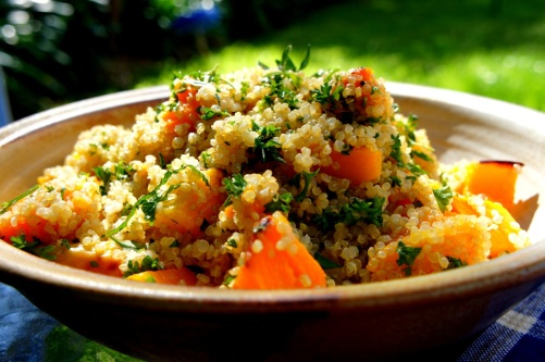 Simple lunch - quinoa with roasted pumpkin and herbs (FODMAP friendly, vegan, gluten free)