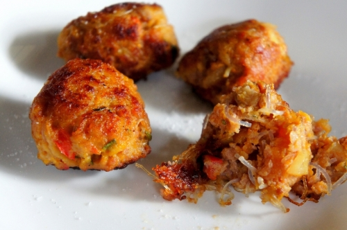 Golden beef balls with pumpkin, potato and herbs  (low FODMAP, gluten free)