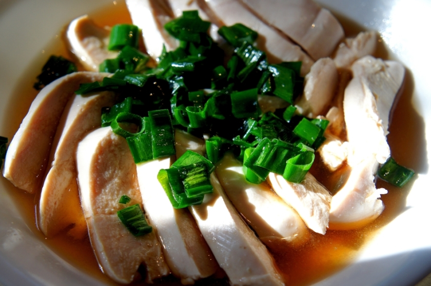 Poached chicken in Chinese rice wine (gluten free)