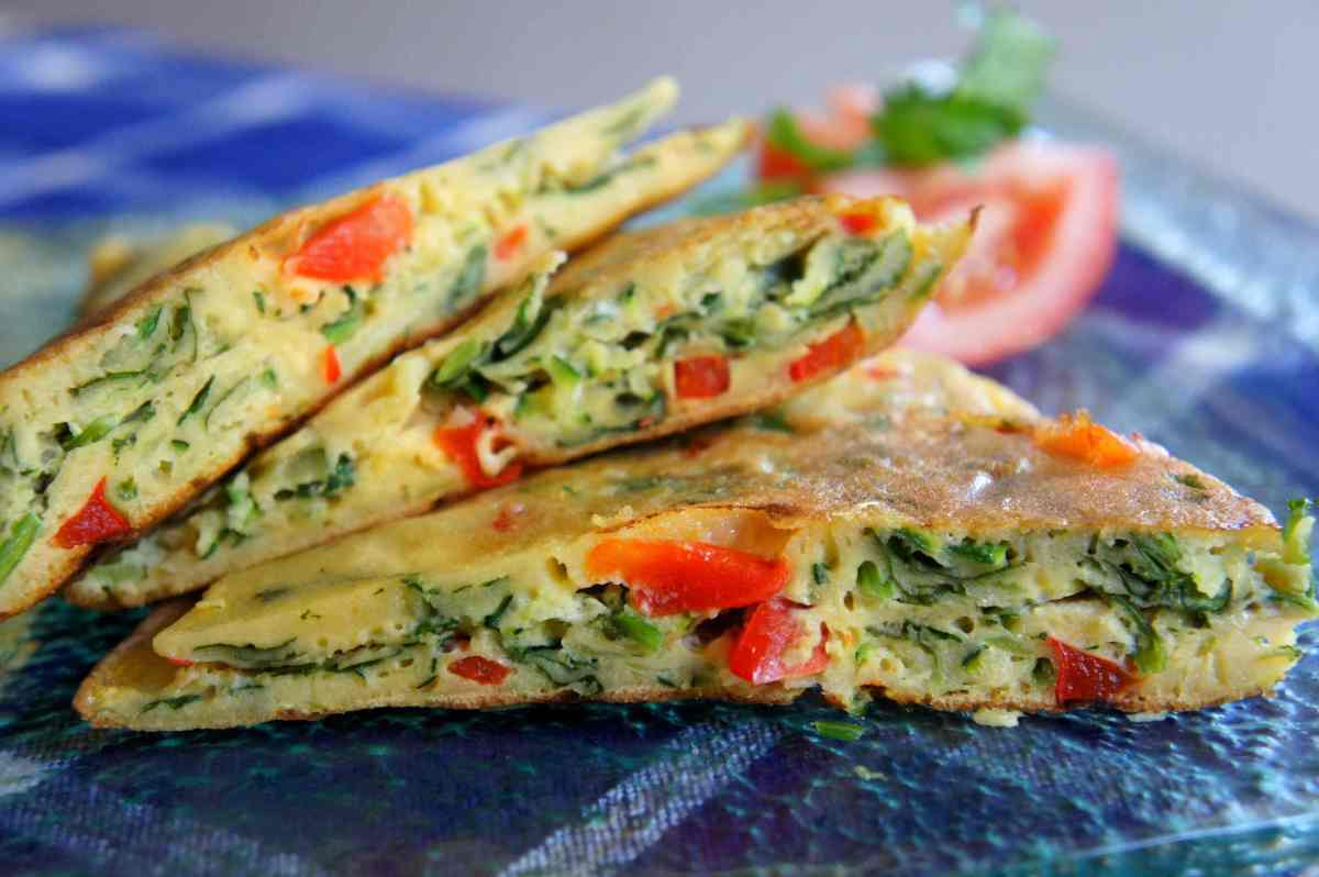 Asian inspired egg pancake with vegetables, low FODMAP, gluten free