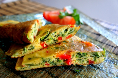 Asian inspired egg pancake with vegetables (low FODMAP, gluten free)