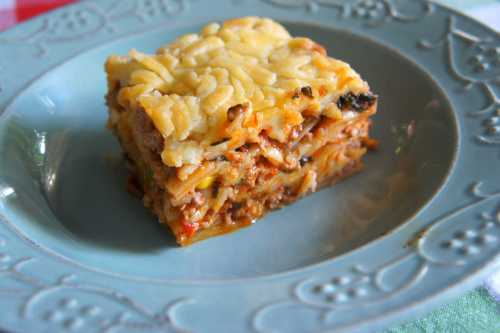 Tasty beef lasagne with silverbeet
