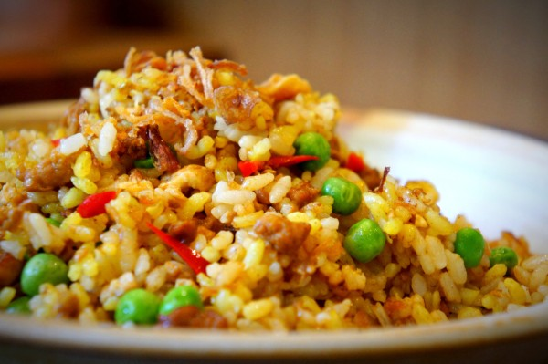Chicken fried rice with ginger, garlic coconut, kaffir lime leaves, turmeric and lemongrass