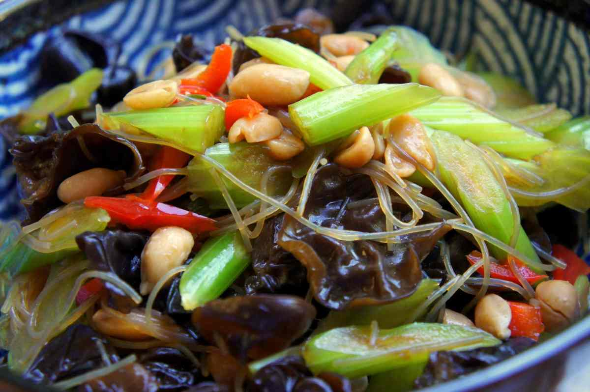 Asian celery salad with black fungus, green bean vermicelli and peanuts (liang ban) vegan