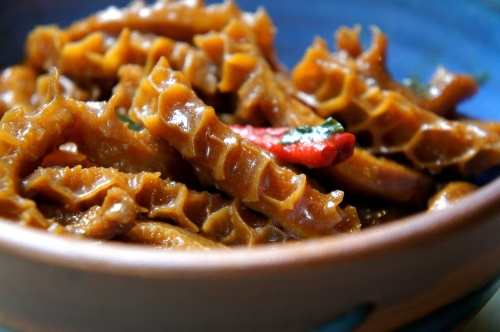 Chilled spicy tripe with soy, sesame oil & vinegar (low FODMAP, gluten free)