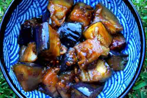 Spicy eggplant with dried shrimps