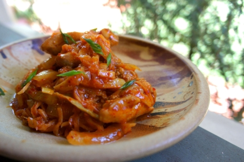 Kimchi chicken with preserved vegetables