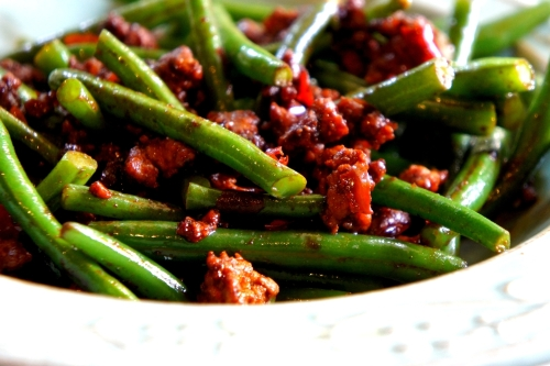 Spicy green beans with pork