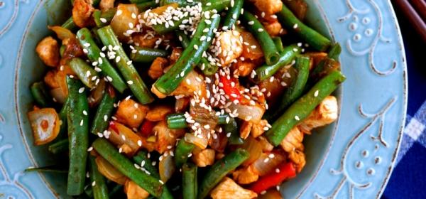 Spicy green bean with soy bean paste