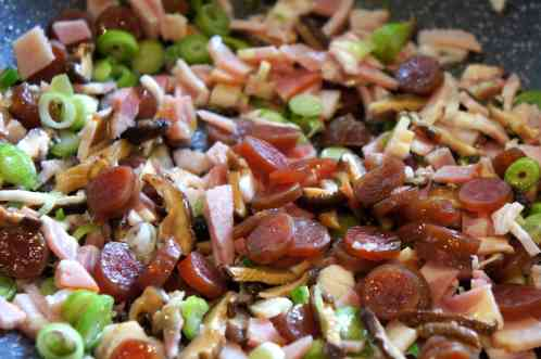 Ingredients glutinous (sticky) rice - Chinese sausages, Chinese mushrooms, bacon, shallot
